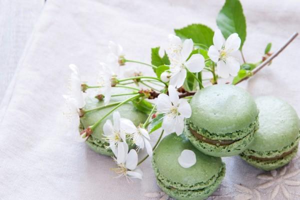 Macarons y una ramita con flores