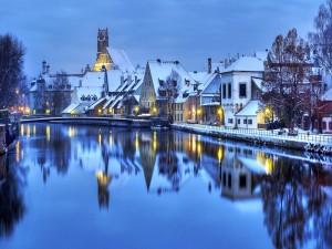 Postal: Noche de invierno en Alemania
