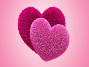 Un corazón fucsia y otro rosa