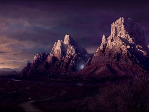 Postal: Luz en las montañas
