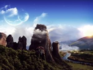 Imagen fantástica de casas en la cima de la montaña
