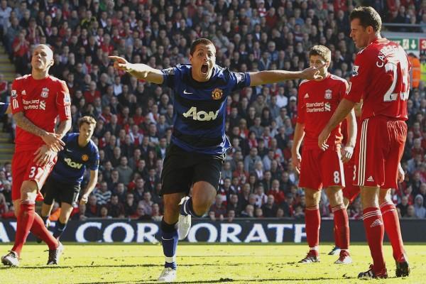 Un jugador del Manchester United, celebrando el gol