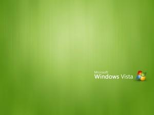 Postal: Microsoft Windows Vista, en fondo verde