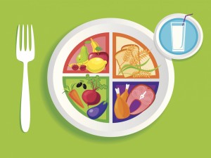 Plato con comida saludable