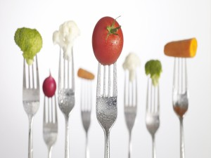 Tenedores con vegetales