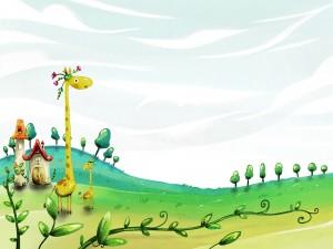 Postal: Jirafas con flores en la cabeza
