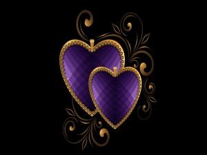 Postal: Corazones color púrpura