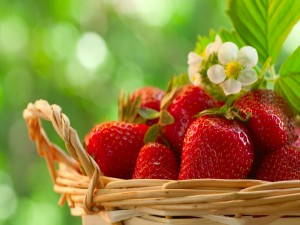 Postal: Cesta con fresas
