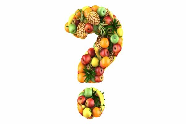 Interrogación con frutas