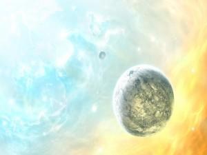 Postal: Planetas en un espacio iluminado