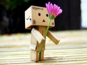 Postal: Danbo con una flor