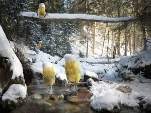 Postal: Vasos de cerveza entre la nieve