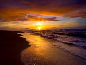 Postal: El sol del atardecer en la playa