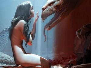 Hada conversando con el dragón