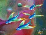 Peces voladores de colores