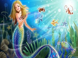 Sirenita y peces felices bajo el mar