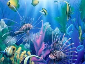 Postal: Peces tropicales en el mar