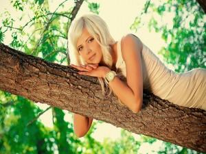 Mujer sobre el tronco del árbol
