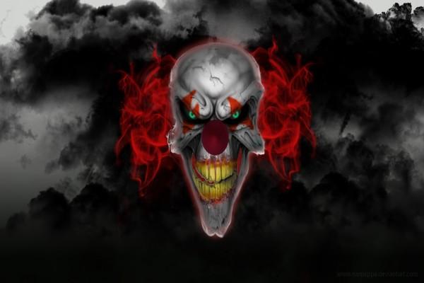 La cara de un payaso diabólico