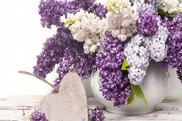 Jarrón con flores junto a un corazón