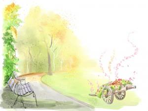 Carro con flores en el parque