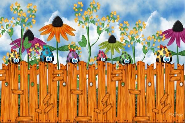 Mariquitas y flores de colores