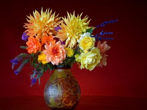Flores en un bonito jarrón