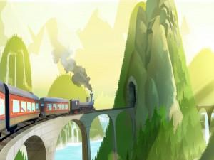 Postal: Tren llegando a un túnel en las colinas