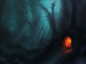 Madriguera en el bosque al anochecer