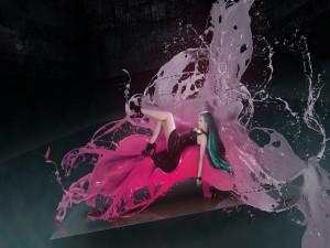 Mujer sobre la pintura