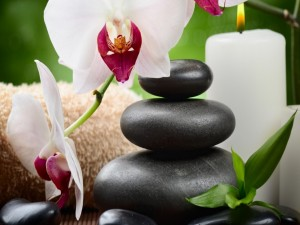 Vela, piedras, y flores