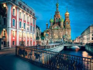 Postal: Iglesia de la Resurrección de Cristo, al anochecer (San Petersburgo)
