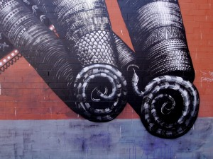 Postal: Serpientes, arte urbano