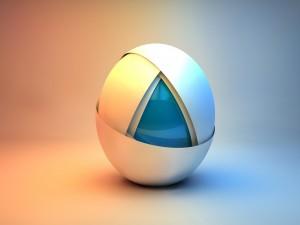 Esfera blanca y azul