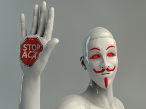 "Postal: Maniquí  Anonymous ""Stop Acta"""