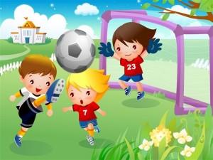 Postal: Niños jugando al futbol
