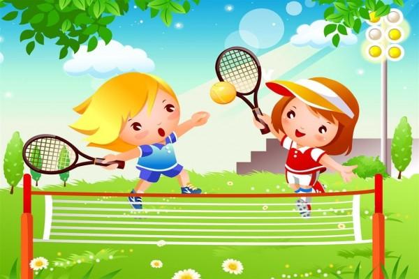 Niñas jugando al tenis