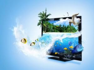 Dos paisajes en un televisor 3D
