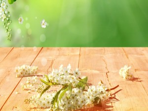 Ramitas con flores sobre la mesa