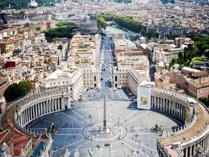 Postal: Plaza de San Pedro, en el Vaticano