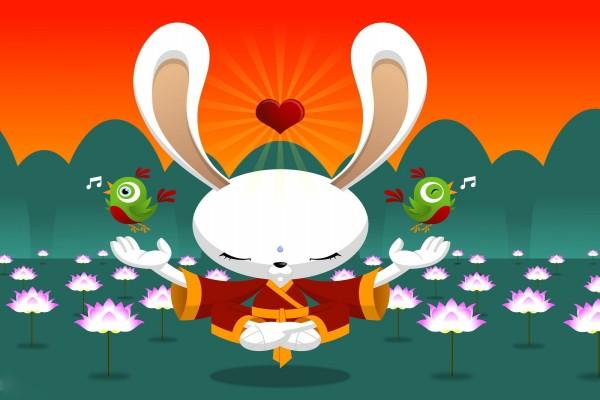 Un conejo meditando