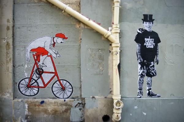 Arte urbano en una pared de la ciudad