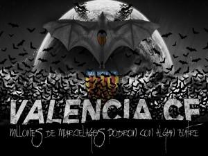 Postal: Valencia CF. Millones de murciélagos podrán con algún buitre