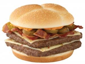Hamburguesa con la carne cuadrada