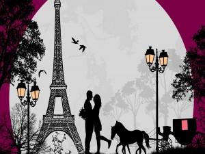 Postal: Romance en París con luna llena