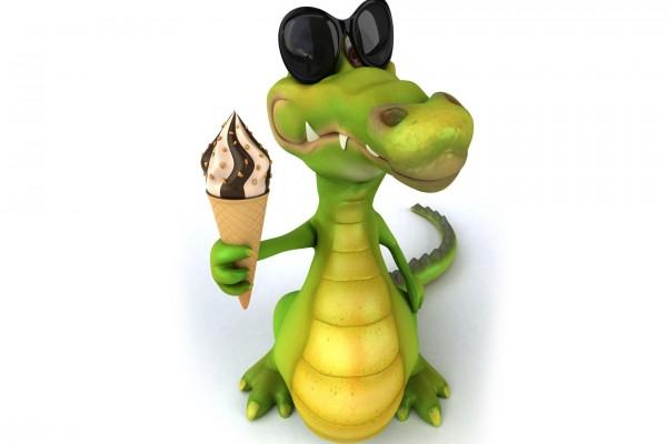 Cocodrilo en 3D tomando helado