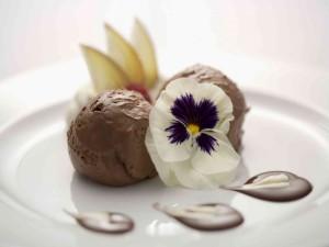 Helado de chocolate con una flor