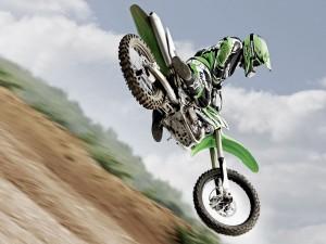 Motocross en una Kawasaki