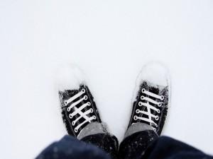 Postal: Pisando la nieve