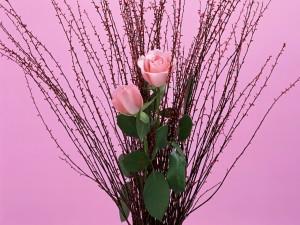 Postal: Arreglo floral con rosas de color rosa